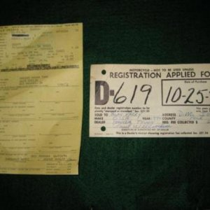 Original title and dealer paper tag for the Ossa