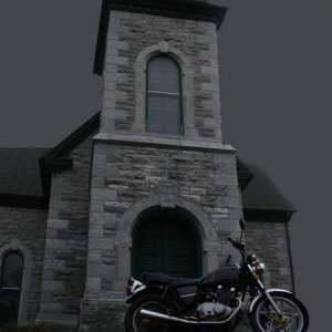this church is in my fav graveyard.It was used back in the day when they would wait untill spring to break ground. .I will post my triumph next.thanks