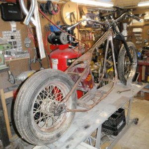 38 Knuck frame converted for my 51 FLH motor and trans.  I will finish this one day, from the grave if necessary.  I have been practicing for years, h
