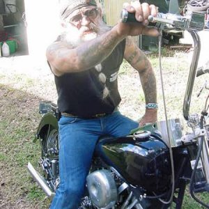 Me and Shirley the Shovelhead.  73 FLH, had her so long, she is my first wife, and my real wife is my second wife.  Got her from a Police Auction in 7