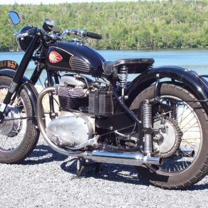 h57 BSA '68 engine '51 tail section grafted to '68 frame.  Assembled from about 64 different donor bikes...turned out to be a really sweet old girl.