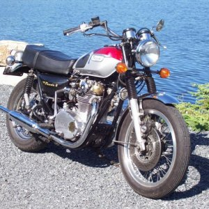 Unmentionable 650 twin...been chopped and bastardized many times (hence 'Phoenix 8'). So many people thought it was a Triumph, I thought I might as we